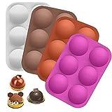 DIQC 4 moldes de silicona de media esfera, tamaño grande, 6 cavidades, bolas de chocolate, bomba,...