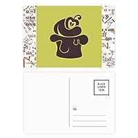 桜のアイスクリームの黒いシルエット 公式ポストカードセットサンクスカード郵送側20個