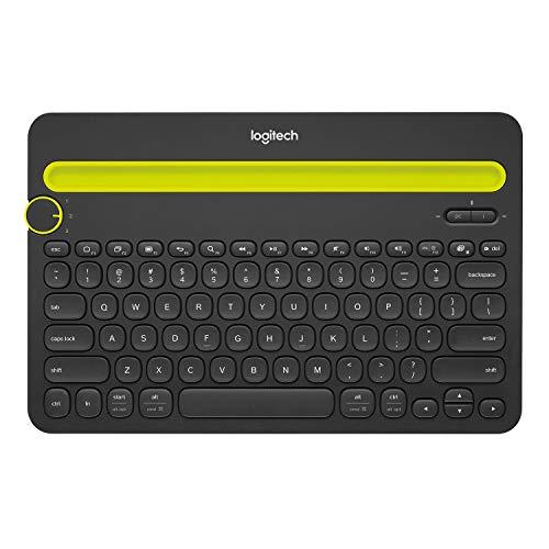 Logitech K480 Clavier sans Fil Multi-Dispositifs pour Windows, Apple iOS, Android ou Chrome, Bluetooth, Design Compact, PC/Mac/Portable/Smartphone/Tablet, Clavier AZERTY Français - Noir