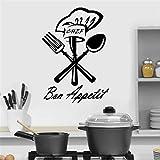 Chef Bon Appetit Pegatina De Pared para Cocina Vinilo Café Restaurante Diseño De Interiores Decoración Vajilla Cuchillo Tenedor Calcomanías Murales-57X81Cm
