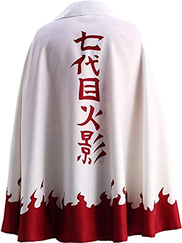 Nsoking Anime Naruto Uzumaki Cloak 7th Hokage Cloak Boruto Cosplay Costume Robe Outfit (Kid M(Height 51'-59'), White)