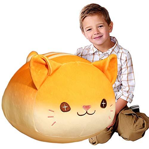 ELAINREN Soft Hugging Cat Plush Kitty Stuffed Animals Toy Pillow, Cute Tabby Kitten Plushie Pet Body Cushion,15.7inch/Yellow
