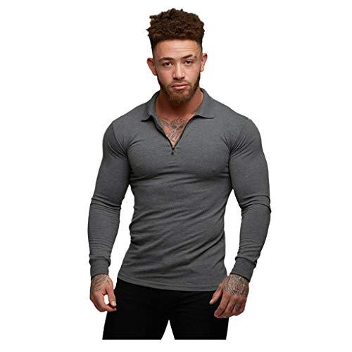 AmyGline Herren Langarm T-Shirt Pullover Bodybuilding Zip Stretch Langarmshirt Sweatshirt Muskelshirt für Fitness Sport Gym Workout