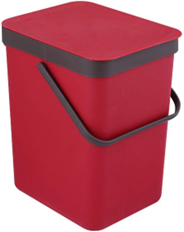 primera reputación de los clientes primero JXXDDQ JXXDDQ JXXDDQ Bote de Basura con Color sólido Bote de Basura Caja de Almacenamiento portátil Cesta de Papel de una Pieza montada en la Parojo, 9L, Tres Colors Opcionales (Color   Rojo)  suministramos lo mejor