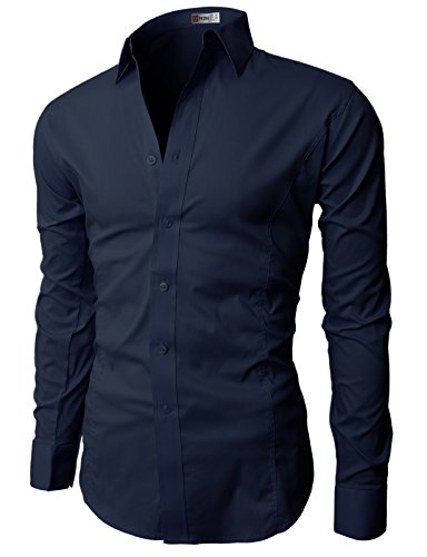 H2H Men's Wrinkle Free Slim Fit Dress Shirt w/ Solid Long Sleeve, JASK14 Navy, ASIA L (US M)