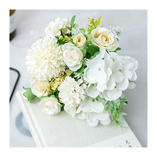 HETHYAN Dried Flowers-Large Artificial Flowers For Wedding Home Decoration Artificial Dried Flowers Bouquets Artificial Plants (Color : White Rose)