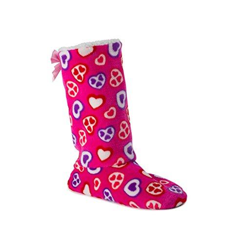 funslippers Damen Hausschuhe Hüttenstiefel Hausboots Pink Feste Sohle Puschen Pantoffeln Schlappen Plüsch Warm Innensohle Gepolstert rutschfest 38/40 EU