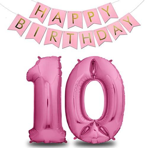envami Ballon Anniversaire 10 Ans Rose I 101 CM Ballon Chiffre + Happy Birthday Garland I Deco Kit Anniviersaire Fille I Happy Birthday Decoration I Ballon Joyeux Anniversaire I Vole Grâce à l'Hèlium