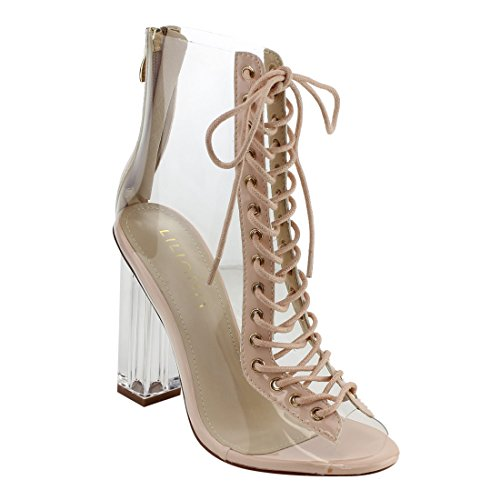 Liliana Clear Translucent Transparent Lace Up Peep Toe Ankle Bootie W Perspex Block Heel,Nude,9