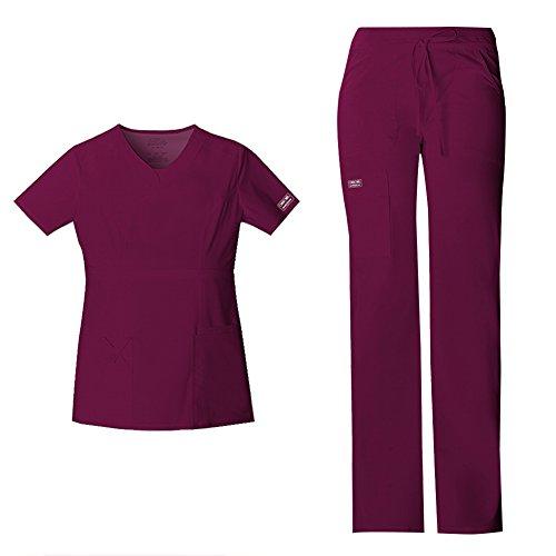 Cherokee Vêtement de travail pour femme - Coupe junior - Col en V - 24703 et taille basse - Pantalon cargo 24001 - Tenue médicale (vin - Large/grande taille)