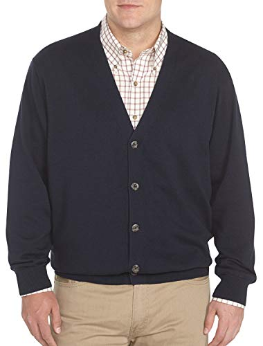 Harbor Bay by DXL Big and Tall V-Neck Button Cardigan Sweater, Midnight, 3X