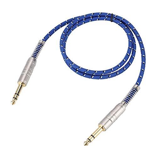 Stereo audio aux kabel, 90 graden haakse audio jack kabel 6,35 mm mannelijk naar 6,35 mm mannelijk met vergulde contacten, voor versterker, gitaar, luidspreker (1 m)