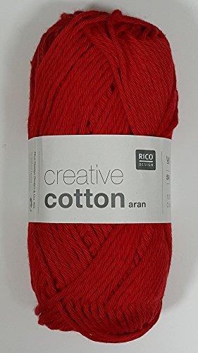 RICO CREATIVE COTTON ARAN HAND KNITTING YARN - 50g 05 Red