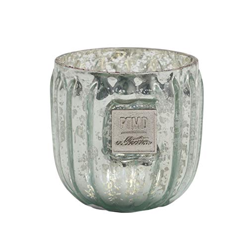 PTMD lantaarns bordlamphouder Caith Silver van glas in set, 3-dlg. - Afmetingen: diameter 7 cm, hoogte 6,5 cm.