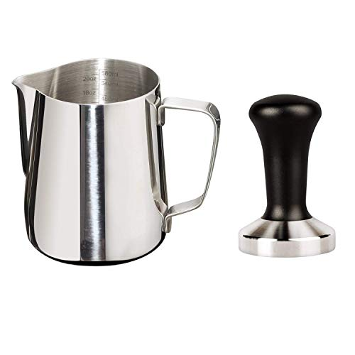 Joytata 20oz Milk Frothing Pitcher 58mm Stainless Steel Espresso Tamper Set Milk Pitcher with Measurement Scale Stainless Steel Steam Pitcher Coffee Tamper Set Perfect for Espresso MachineFroth Cup