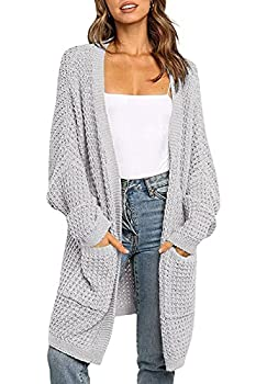 ZESICA Women s Long Batwing Sleeve Open Front Chunky Knit Cardigan Sweater with Pockets