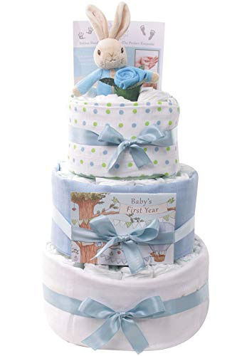 Peter Rabbit New Baby Boy Gifts for a New Born Baby Boy Gift Set Beatrix Potter - Blue 3 Tier Nappy Cake Baby Boy Gift Hamper Peter Rabbit Present Ideal for Baby Shower Gift & New Parent Gifts
