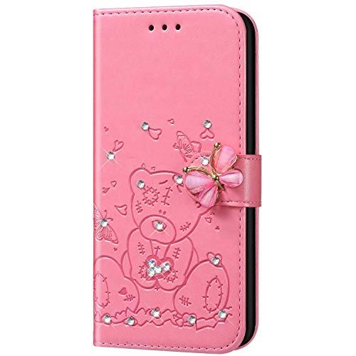 Qpolly - Funda de piel sintética para Samsung Galaxy A20S, con brillantes, diseño de mariposas, amor, oso, brillante, piel sintética, color rosa