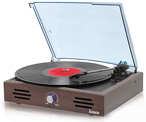 Lauson Woodsound JTF536 Record Player, Turntable USB for Vinyl Records 3 Speed, Belt Driven Vintage Record Player Vinyl-to-MP3, Stereo Speakers, Lp Phonograph, RCA Output, Natural Wood Effect (Wengue)