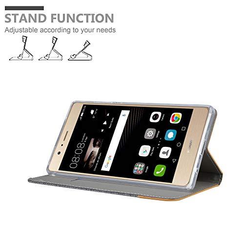 Cadorabo Hülle für Huawei P8 MAX - Hülle in HELL GRAU BRAUN – Handyhülle mit Standfunktion und Kartenfach im Stoff Design - Case Cover Schutzhülle Etui Tasche Book - 3