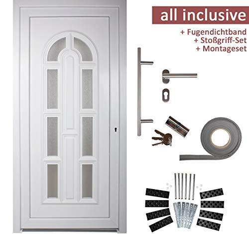 kuporta Kunststoff Haustür England Türen 98 x 200 cm DIN rechts weiß mit Stoßgriff-Set Montageset Fugendichtband