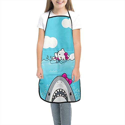 Sumptuous Delantal para niños – Hello Kitty y tiburón delantales con bolsillos, delantales para cocinar, hornear, pintura, jardinería, pequeño