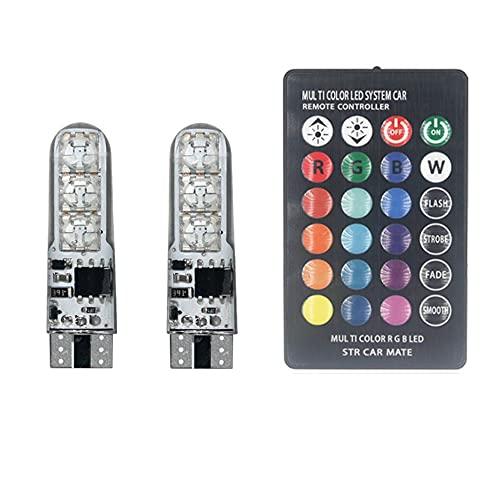 YSSMAO 2 unids T10 W5W RGB Bombilla LED 12SMD COB CANBUS 194 168 Coche con Control Remoto Flash/Lectura estroboscópica Luces de liquidez de la luz de la luz,B