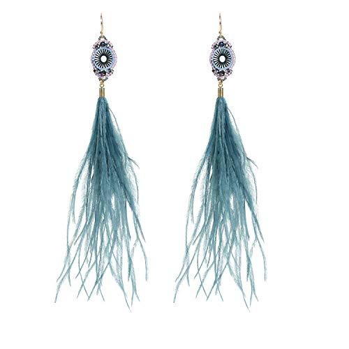Blaue Feder-Ohrringe, lange Straußenfedern, Damenohrring 2017, Bohemian-Kostüm-Schmuck, originelles Design, handgefertigt