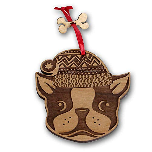 Christmas Ornament- Decorative Hanging Ornaments- Engraved and Laser Cut Natural Alder Wood (French Bulldog)