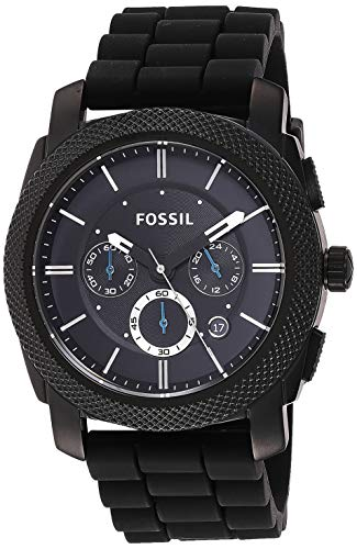 Fossil Men's Machine Quartz Stainless Steel and Silicone Chronograph Watch, Color: Black (Model: FS4487)