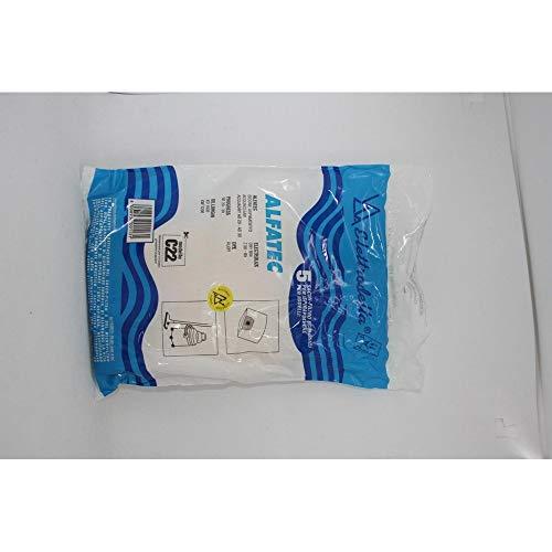 C 22 - Confezione nuova da 5 sacchi filtro per aspirapolvere ALFATEC: BIDONE ASPIRATUTTO; DE LONGHI: M 31; ELECTROLUX: DRY BIN; PROGRESS: BIDONI; KARCHER: L'ASPIRATUTTO WET & DRY.