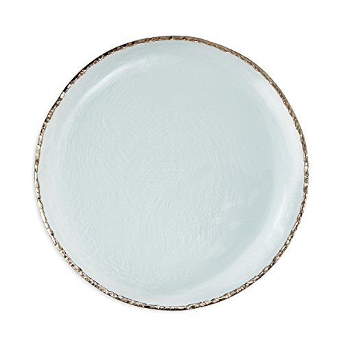 "Annie Glass Edgey Platinum Charger plate 12"" round platter #e108p"
