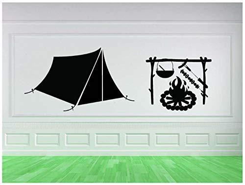 Art Camping Geschenken Patroon Ontworpen Muur Muren Cambin Tent Lodge Vinyl Muurstickers voor Home Room Speciale Decor Decals 56X97Cm