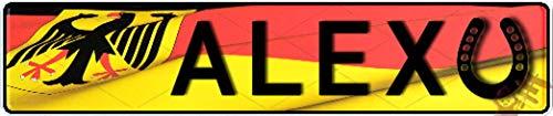 Geprägtes Nummernschild zum Selbstgestalten ✓ Individuelles Namensschild, Aluminium-Schild | Autoschild mit Namen & Spruch selbst gestalten | Aluschild, Kfz-Kennzeichen-Schilder mit Wunschtext