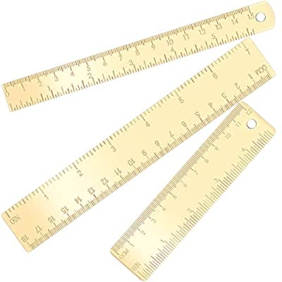 3 Pieces Gold Brass Rulers Durable Brass Straig...