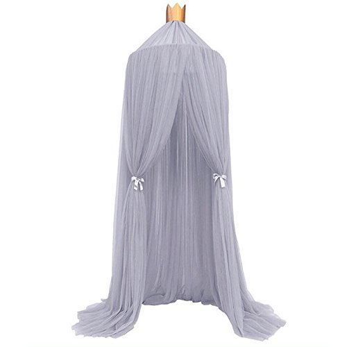 Souarts Round Mosquito Net Bed Canopy Play Tent Bedding for Kids Playing Reading Hanging Curtains Lace Dome Netting Grey