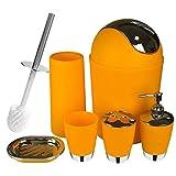 Selotrot 6 Piezas Baño Set de Accesorios Baño Inodoro Cepillo con Bote de Basura Portacepillo de Dientes Jabón Vaso Taza - Naranja