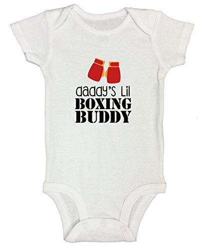 Funny Threadz Kids Boys Funny Onesie Daddy Lil Boxing Buddy Fighting MMA UFC Kids Shirt 3-6 Months, White