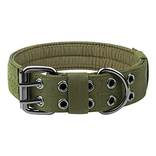 OneTigris Military Adjustable Dog Collar with Metal D Ring & Buckle 2 Sizes (L, OD Green)