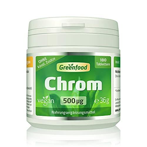Chrom, 500 µg, hochdosiert, 180 Tabletten - für einen ausgeglichenen Blutzuckerspiegel. OHNE künstliche Zusätze, ohne Gentechnik. Vegan.