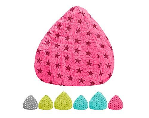lifestyle4living Sitzsack für Kinder und Jugendliche, Pink mit Sternen, Plüsch Bezug   Pflegeleichter und bequemer Beanbag Fluffy XL Liegesack 220l