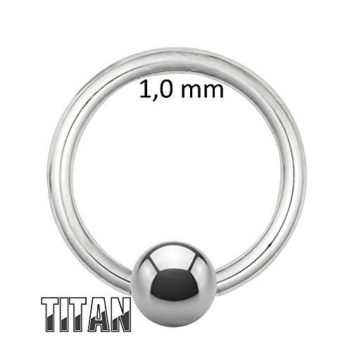 Treuheld®   Klemmkugelring Piercing/BCR Ring aus reinem Titan   1,0mm x 12mm und Kugel: 4mm   Silber   Bauchnabelpiercing/Ohr Piercing Ring