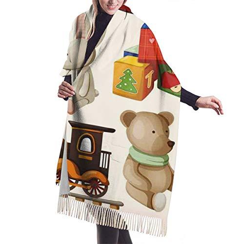 Bufanda Fringe Chal Mujer Diseño de juguetes de madera vintage Caballo mecedor Bloques Muñeca Tren...