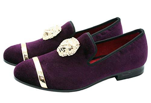 Santimon Mokassin Herren Slip on Loafers Komfort Party Casual Schuhe Velvet Slipper mit Goldene Schnalle Schwarz Violett Blau (46 EU, Violett)