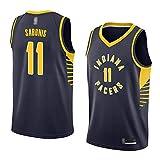 HS-XP Men's Leisure Sport Basketball NBA Indiana Pacers # 11 Domantas Sabonis Jersey - Malla Quick-Secking Transpirable V Cuello Camiseta Camiseta,Negro,XL(180~185cm)