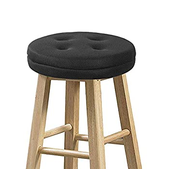 baibu Bar Stool Cushions Super Breathable Round Bar Stool Covers Seat Cushion Round with Elastic Black 13  - Cushion Only