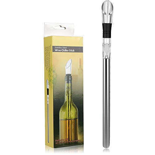 Wine Chiller, DodoBee Wine Aerator, 3-in-1 Stainless Steel Wine Air Aerator Cooler Stick, Premium Wine Aerator Pourer, Rapid Iceless Wine Chiller Stick, 100 % Drip-free Aerator Wine Pourer