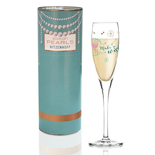 RITZENHOFF Pearls Edition Proseccoglas von Kathrin Stockebrand (Pusteblume), aus Kristallglas, 160 ml, mit edlen Roségoldanteilen