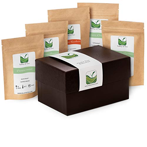 Herbal Tea Gift Box Tealover - Organic Loose Tea for True Tea Lovers - Gourmet Specialty - Infusion Selection Basket - Camomile 20g Passion Flower 30g Peppermint 10g Lemon Grass 20g Rooibos 30g