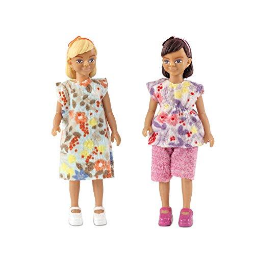 Lundby 60-806400 - Biegepuppen für Puppenhaus - Mädchen Figuren - 2-teilig - Puppenhauszubehör - Kunststoff-Puppen m. ausziehbarer Kleidung - Schwestern, Kinder - Zubehör - ab 3 - Minipuppen 1:18
